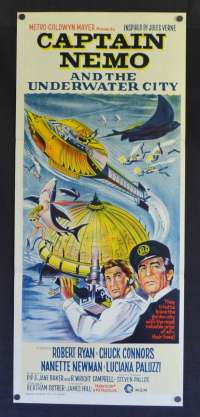 Captain Nemo And The Underwater City Poster Original Daybill Robert Ryan Chuck Connors Jules Verne