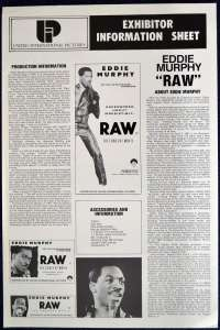 Eddie Murphy Raw 1987 Movie Press Sheet Eddie Murphy Stand Up