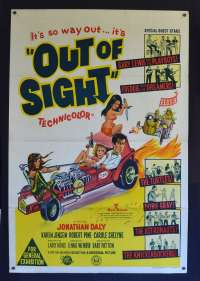 Out Of Sight 1966 One Sheet Movie Poster Jonathan Daly Beach Party ZZR Hot Rod