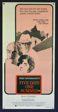 Five Days One Summer Poster Original Daybill Rolled NEVER Folded 1982 Sean Connery