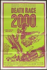 Death Race 2000 Poster Original One Sheet 1975 David Carradine Sylvester Stallone