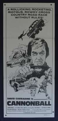 Cannonball 1976 aka Carquake Daybill movie poster David Carridine Rare Art