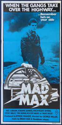 Mad Max Movie Poster Original Daybill 1982 Re-Issue Mel Gibson Rockatansky