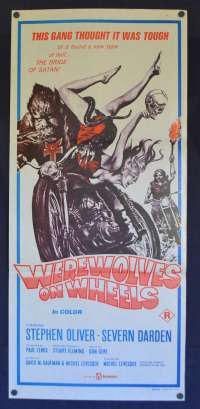 Werewolves On Wheels Daybill Poster Original 1971 Bikers Horror Satanic Cult
