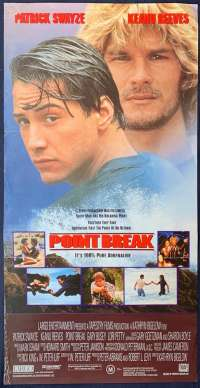 Point Break Poster Original Daybill 1991 Surfing Patrick Swayze Keanu Reeves