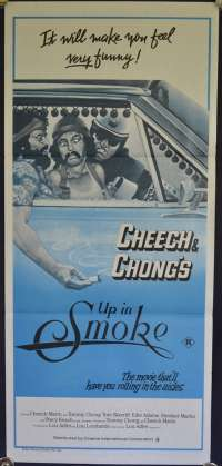 Cheech and Chong's Up in Smoke Daybill movie poster duo tone art