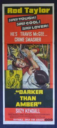 Darker Than Amber Movie Poster Original Daybill 1970 Rod Taylor Suzy Kendall