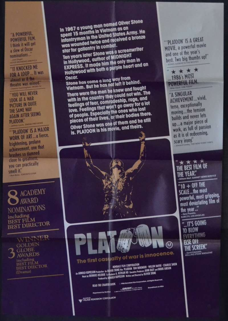 All About Movies Platoon Movie Poster One Sheet Tom