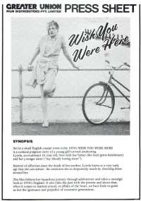 Wish You Were Here 1987 Movie Press Sheet Emily Lloyd Tom Bell