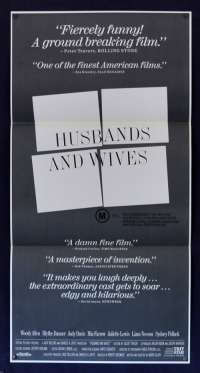 Husbands And Wives 1992 Daybill movie poster Woody Allen Mia Farrow Judy Davis