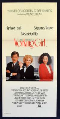 Working Girl 1988 Daybill Movie Poster Melanie Griffith, Sigourney Weaver, Harrison Ford