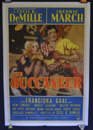 The Buccaneer 1938 Poster Style A Frederic March One Sheet Linen Back