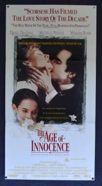 The Age Of Innocence Movie Poster Original Daybill 1993 Daniel Day-Lewis Michelle Pfeiffer
