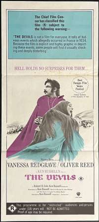 The Devils Poster Original Daybill Purple Art 1971 Ken Russell Oliver Reed Witchcraft