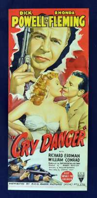Cry Danger Movie Poster Original Daybill 1951 Film Noir Dick Powell RKO