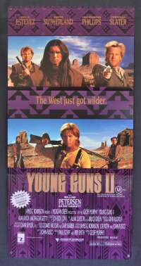 Young Guns 2 Movie Poster Original Daybill 1990 Emilo Estevez Kiefer Sutherland