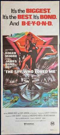 The Spy Who Loved Me Roger Moore Barbara Bach Daybill movie poster