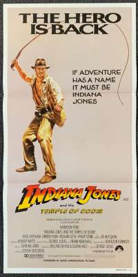 Indiana Jones And The Temple Of Doom Daybill Poster Original 1984 Advance whip art