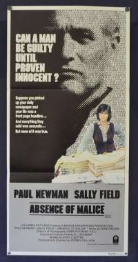 Absence Of Malice Movie Poster Original Daybill 1981 Paul Newman Sally Field