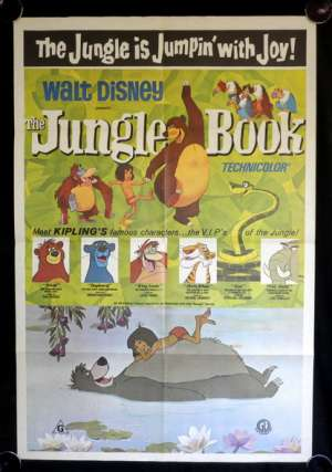 The Jungle Book 1967 One Sheet movie poster 1970 Re-Issue Disney