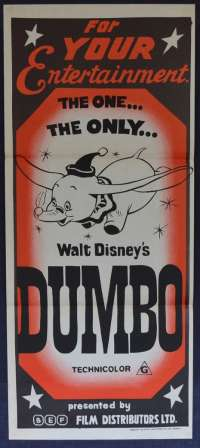Dumbo Movie Poster Original Daybill Disney Rare 1960's Re-Issue