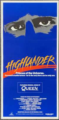 Highlander 1986 Daybill Poster Christopher Lambert Sean Connery Queen