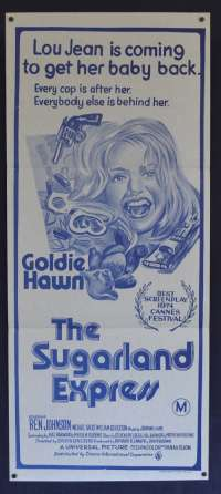 The Sugarland Express Movie Poster Daybill Goldie Hawn Blu Duo Tone ART